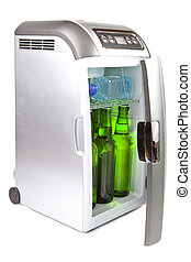 traveling automobile refrigerator with bottles