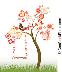 tree with hearts and flowers and a swing