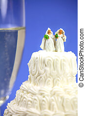 Miniature homosexual couple on a wedding cake
