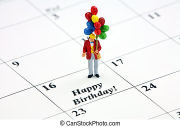 Happy Birthday calendar date - Birthday concept. A miniature...