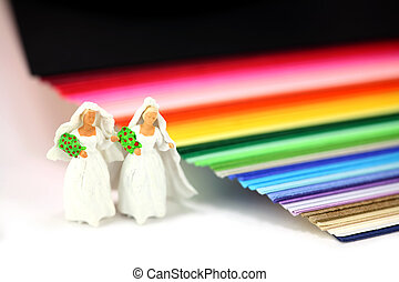 Miniature homosexual couple in wedding dresses standing next...
