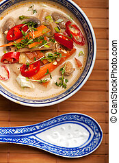 tom kha gai soup with chicken and chili
