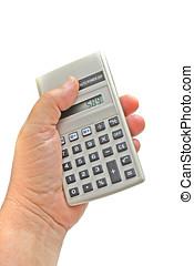 calculadora, mão