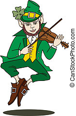 Fiddle-Playing Leprechaun Silo - Vector art in Illustrator 8...