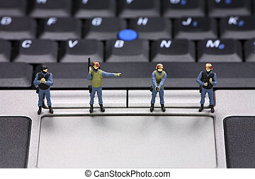 Computer data security concept - Miniature swat team is...