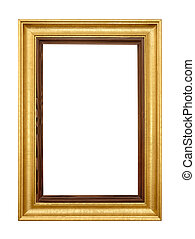 Elegant gold picture frame on white - Studio shot of an...