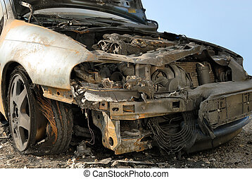 Burnt down car - Abandoned burnt down car after an...