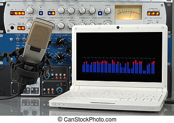 Digital sound recording - Audio setup containing microphone,...