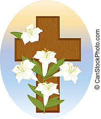 Cross and Lilies - Vector art in Illustrator 8. Stylized...