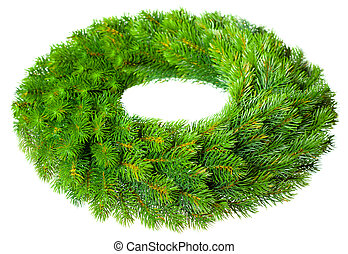 Christmas wreath - Green round Christmas wreath on white...