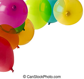 balloons isolated on white in a corner