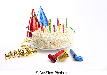 Birthday cake and party stuff