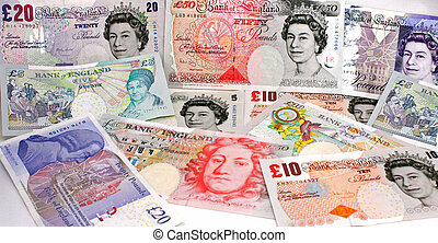 English pounds money isolated on a white background.