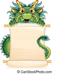 Dragon with scroll - A template for your design also dragon...