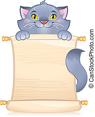 Cat with scroll