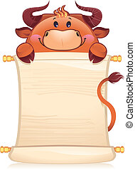 Bull with scroll - A template for your design also bull as...