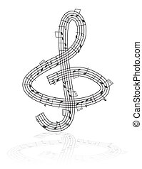 treble clef and notes - Treble clef made from notes -...