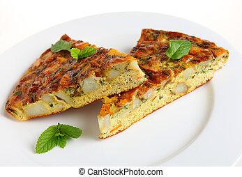 Horizontal Spanish omelet