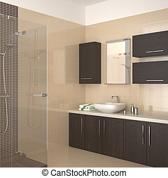 modern beige bathroom - Modern bathroom with beige tiles and...