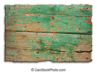 old wood tablet - a blank tablet of wood with old nails and...