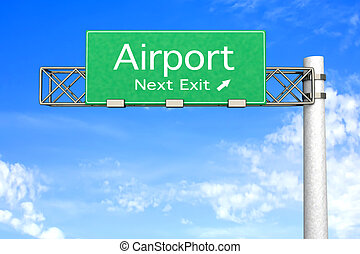 Highway Sign - Airport - 3D rendered Illustration Highway...