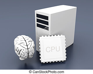 Artificial Intelligence Symbol 3D rendered Illustration Gray...