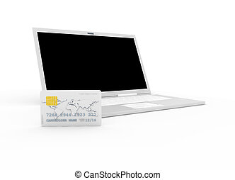 Credit card and Laptop 3D rendered Illustration Isolated on...