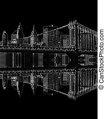 brooklyn bridge at night, new york, usa - illustration of...