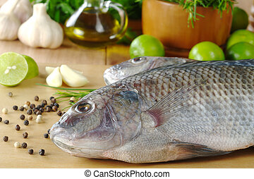 """cru, peixe, chamado, """"tilapia"""", cercado, Temperos, ervas,..."""