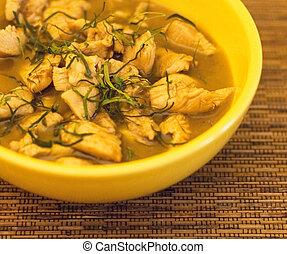 thai chicken curry - shallow focus