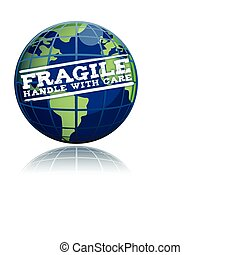 Fragile globe - Fragile handle with care globe illustration...