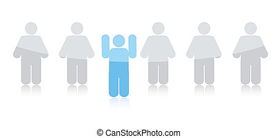 standing out from the crowd illustration isolated over white
