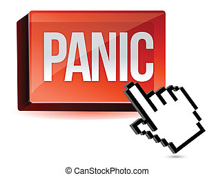 cursor panic button illustration design isolated over white