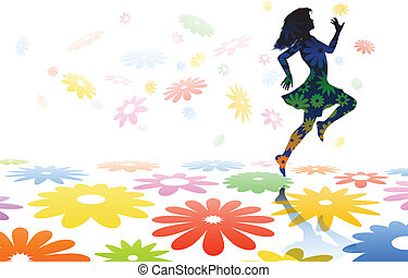 Skipping girl - Editable vector silhouette of a carefree...