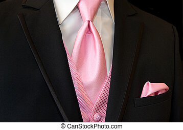pink tie with tuxedo - Pink accessories accenting a black...