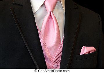 rosa, corbata, esmoquin