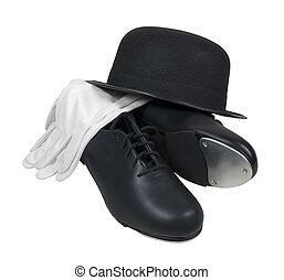 Bowler Hat with Tap Shoes and White Gloves - Antique retro...