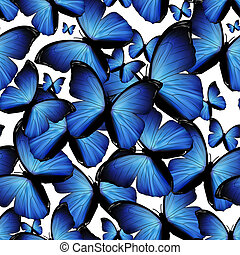 butterflies - seamless background with blue butterflies