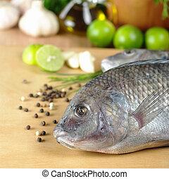 "crudo, pez, llamado, ""tilapia"", rodeado, especias,..."