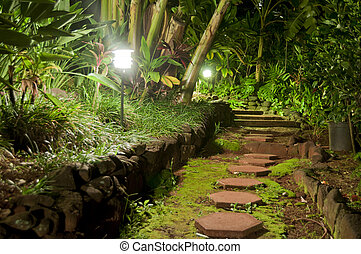 Pathway Stones in a Night Garden - red hexagon pathway...