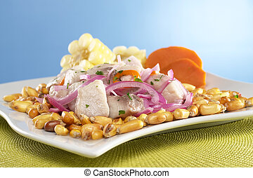 Peruvian-style ceviche made out of raw mahi-mahi fish...