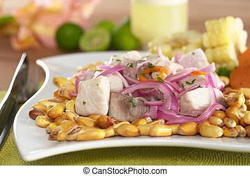 peruano, pez, espalda, crudo, asado, cebollas, afuera,...