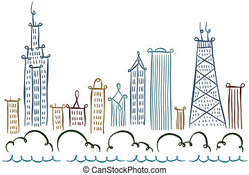 Chicago Skyline - Cartoon line drawing of the city of...