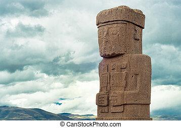 monolito, Ruinas, Tiwanaku, Bolivia