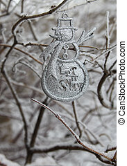 Let It Snow - Silver Let it Snow, snowman, dangles from...
