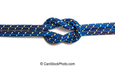 Reef knot made of two blue-yellow hawsers, isolated