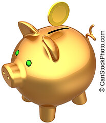 Golden piggy bank money-box - Piggy bank total golden with a...