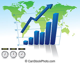 Business graph on world backround with arrow illustration