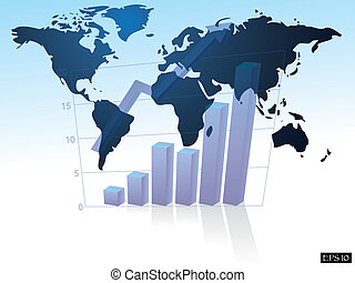 Business graph with arrow on world map background