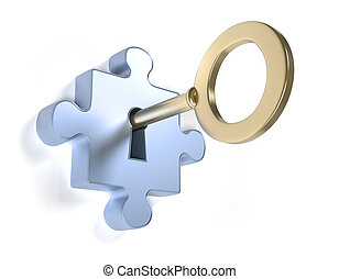 Solution - Jigsaw puzzle piece with key - this is a 3d...